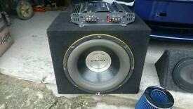 150 watt 2 way amp. With a phat bass subwoofer.