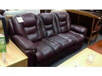Three seater burgundy recliner sofa