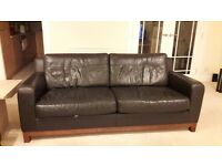 Chocolate brown leather 3 & 2 seater couches for sale