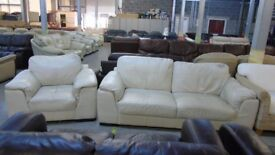 PRE OWNED 3 Seater + Chair in Cream Leather