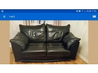 2 x 2 Seater black leather sofas in very good condition