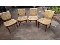 4 ALL DATED OCT 1978 MID CENTURY DESIGN BUTTONED LEATHER LIGHT WOOD CHAIRS DINING OFFICE OCCASIONAL