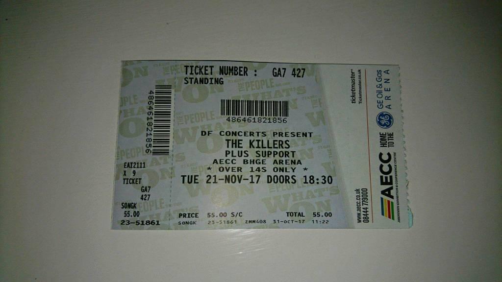 1 Killers standing ticket