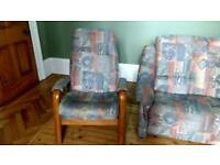 Three piece suite, 3 seater, armchair and recliner chair.