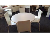 White Round Office Table with 4 chairs