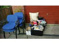 carboot items 4 large boxes and 4 chairs