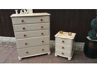 shabby chic ,pine drawers and bedside table