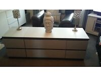 Stunning silver glitter upcycled drawers/Tv unit