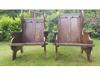 Mother & Father antique oak chairs