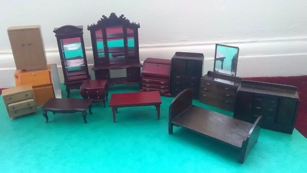 14 Dolls House Furniture Bedroom Cabinet Wooden some vintage lot Drawing Room