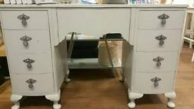 Shabby chic pale grey dressing table / desk