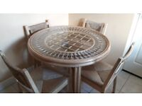 Wood round table glass top plus 4 chairs