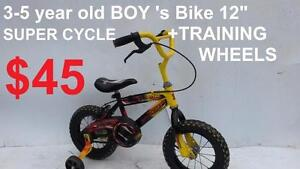 "3-5 year old Bike 12""and 14  tires SUPER CYCLE  Disney +TRAINING WHEELS"
