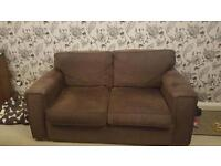 2x 2 seater settee in chocolate brown
