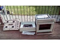 Caravan oven, grill and 4 ring hob, Calor gas bottles and regulator
