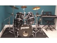 5 piece Premier Drumkit for sale with hardware & cymbals incl. £450