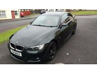 **Black BMW 320d M sport coupe ,red leather** Low miles ,full year MOT ** P/X Audi ,VW ,Mercedes