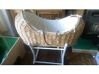 Mothercare snug moses basket, mattress & rocker stand