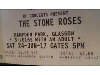 2 seated tickets for The Stone Roses Glasgow Saturday 24th June