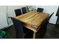 Solid wood dining table with 6 chair
