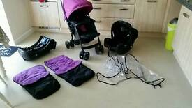 Joie travel system with 2 x footmuffs