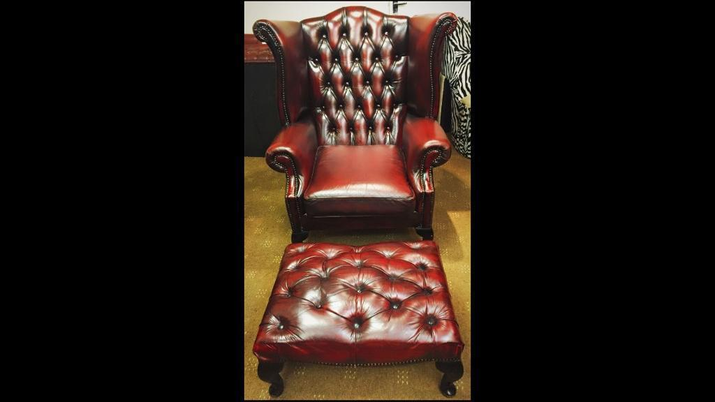 Chesterfield Queen Anne Wing Back Chair & Foot Stool