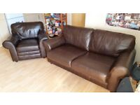 Leather Sofa Bed and Leather Chair VGC hardly used must be see to be appriciated