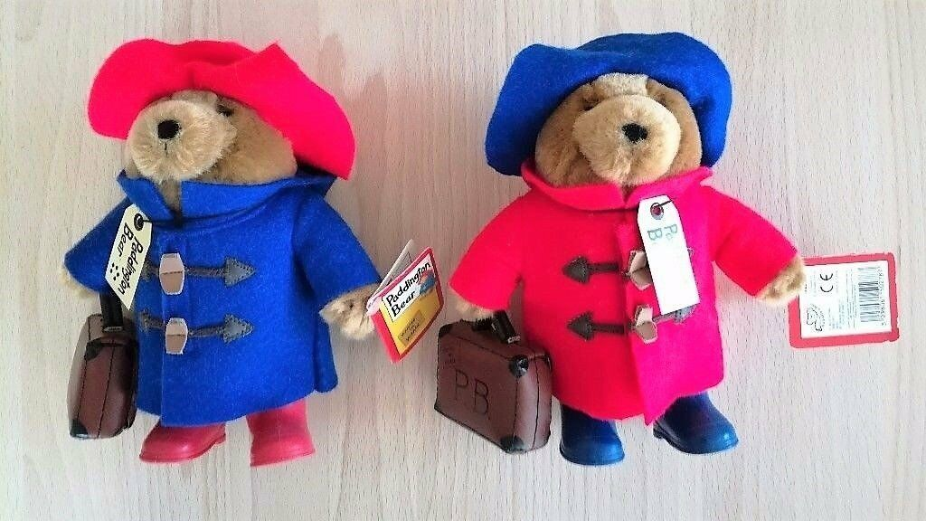 NEW Pair Original Paddington Bear Small Soft Toys Blue & Red Case Hat Boots With Labels CE Standard