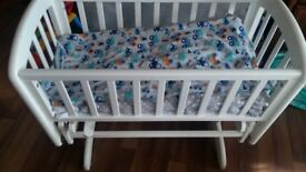 White solid wood crib