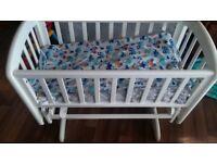 White solid wood crib