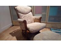 Rocking chair and footstool- dutailier. Perfect condition