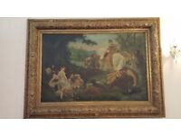 Great Grand Antique Large Oil Painting with a Richly Decorated Frame