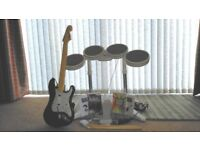 Wii Rock Band - Drum Kit and Guitar