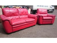 Red Leather Large 2 Seater Sofa with Recliner Armchair