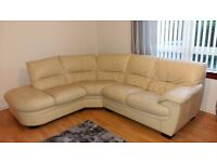 Cream leather corner sofa £100