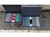 Heavyweight Clay Poker Chips - 2 lockable aluminium cases, one set never used
