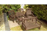 GARDEN BENCH AND ARMCHAIRS X 5 SOLID TEAK , RECENTLY WEATHERPROOFED (CUPRINOL) READY TO USE.
