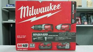 Milwaukee M18 Brushless Hammer Drill and Impact Driver Combo Set