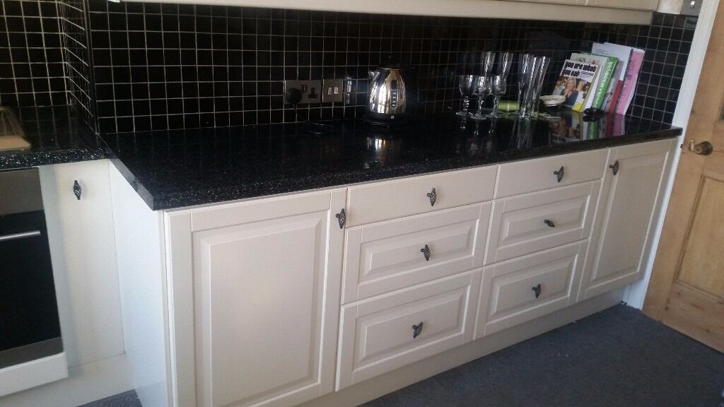 Ikea white kitchen units with black worktop in harrogate for Kitchen units and worktops