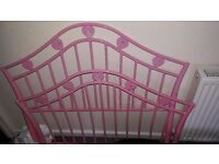 Pink Hearts single bed frame excellent condition
