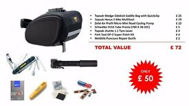 ULTIMATE CYCLING SET - Saddle Bag, Multitool, Mini Pump, Spare Inner Tube, Lever & Patches