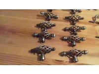 Metal kitchen cupboard handles. 7 double handles. 19 singles.