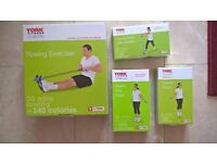 York Fitness home equipment bundle- rowing exerciser, digital skip rope, speed rope, pilates band