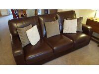 Three seater sofa dark brown leather