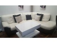 Corner sofa/leather/white