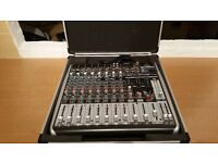 Behringer QX1222USB 8 channel mixer with flight case