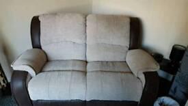 Brown fabric recliner sofa