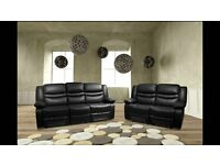 *-*-* SALE *-*-* NEW Leather Recliner Sofas Free Delivery Venice Black or Brown