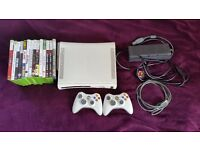 Xbox 360 120gb with games gamepads and headset