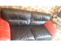 Black and red leather sofa 2+3+buffet